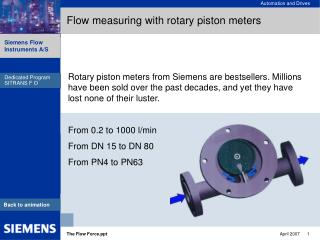 Flow measuring with rotary piston meters