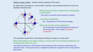 Uniform circular motion  – Another specific example of 2D motion