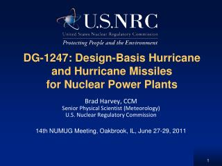 DG-1247: Design-Basis Hurricane and Hurricane Missiles for Nuclear Power Plants