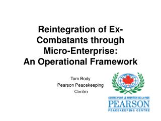 Reintegration of Ex-Combatants through Micro-Enterprise: An Operational Framework