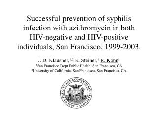 Background:  Syphilis trends in San Francisco