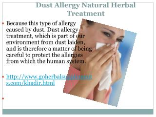 Dust Allergy Natural Herbal Treatment