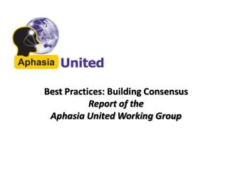 Best  Practices: Building Consensus Report of the  Aphasia United Working Group