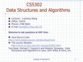 CS5302  Data Structures and Algorithms