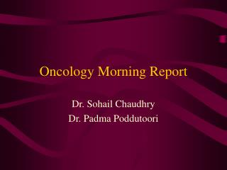 Oncology Morning Report
