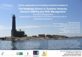 Call for applications for funding of doctoral studies in The Graduate School in Systems Analysis,