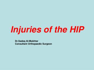 Injuries of the HIP