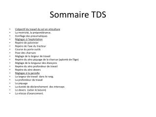 Sommaire TDS