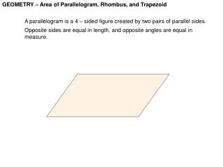 GEOMETRY – Area of Parallelogram, Rhombus, and Trapezoid