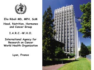 Elio Riboli MD, MPH, ScM  Head, Nutrition, Hormones and Cancer Group I.A.R.C.-W.H.O.