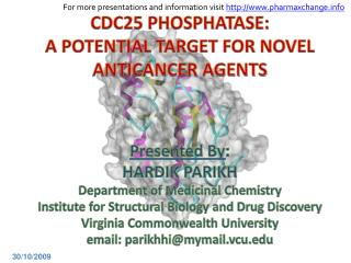 Presented By : HARDIK PARIKH  Department of Medicinal Chemistry