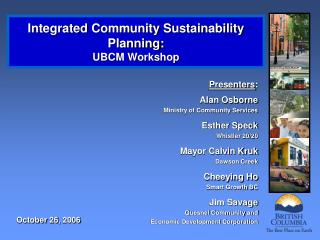 Integrated Community Sustainability Planning: UBCM Workshop
