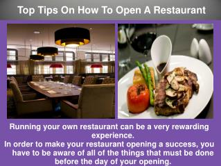 Top Tips On How To Open A Restaurant
