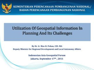 Utilization Of Geospatial Information In Planning And Its Challenges