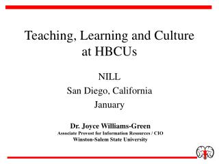 Teaching, Learning and Culture at HBCUs