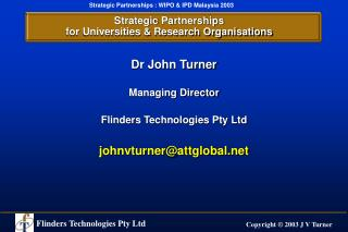 Strategic Partnerships for Universities & Research Organisations