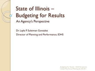 State of Illinois – Budgeting for Results