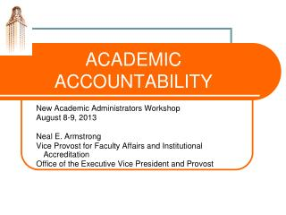 ACADEMIC ACCOUNTABILITY