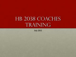 HB 2038 Coaches Training