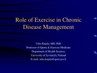 Role of Exercise in Chronic Disease Management