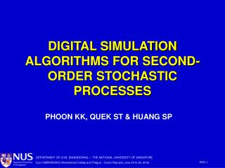 DIGITAL SIMULATION ALGORITHMS FOR SECOND-ORDER STOCHASTIC PROCESSES