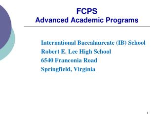FCPS Advanced Academic Programs