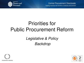 Priorities for  Public Procurement Reform