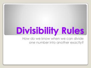 Divisibility Rules