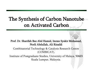 The Synthesis of Carbon Nanotube  on Activated Carbon