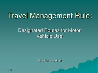 Travel Management Rule: