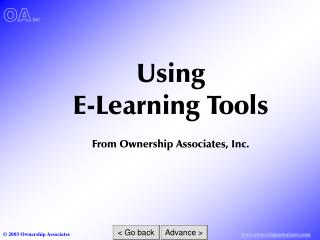 Using  E-Learning Tools