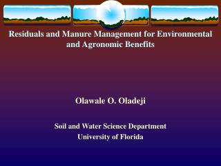 Residuals and Manure Management for Environmental and Agronomic Benefits