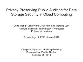 Privacy-Preserving Public Auditing for Data Storage Security in Cloud Computing