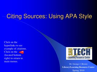 Citing Sources: Using APA Style