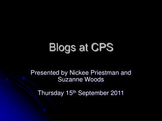 Blogs at CPS