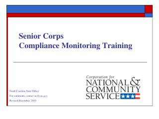 Senior Corps Compliance Monitoring Training