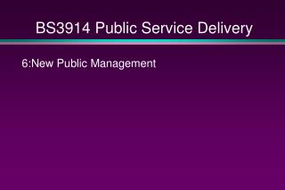BS3914 Public Service Delivery