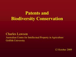 Patents and  Biodiversity Conservation