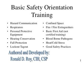 Basic Safety Orientation Training