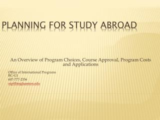 Planning for Study Abroad