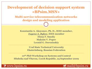 Development of decision support system «BPsim.MSN»