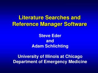 Literature Searches and Reference Manager Software