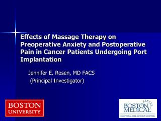 Effects of Massage Therapy on Preoperative Anxiety and Postoperative Pain in Cancer Patients Undergoing Port Implantatio