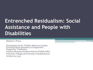 Entrenched Residualism: Social Assistance and People with Disabilities