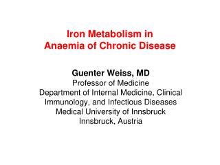 Iron Metabolism in  Anaemia of Chronic Disease