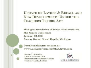 Update on Layoff & Recall and New Developments Under the Teachers Tenure Act