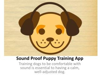 Sound Proof Puppy Training App