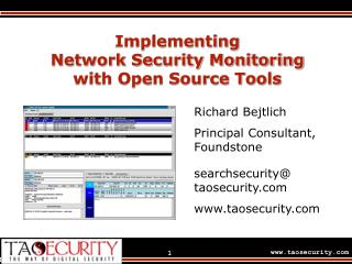 Implementing  Network Security Monitoring  with Open Source Tools