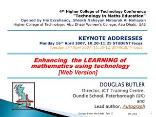 Enhancing  the LEARNING of mathematics using technology [Web Version]