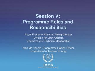 Session V: Programme Roles and Responsibilities